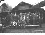 Lumber mill crew and staff outside mill buildings, High Point Mill Company, ca. 1926