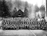 Crew posed in front of building, Camp Applegate, Company 5463, Civilian Conservation Corps, Ruch,...