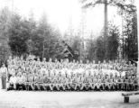 Crew group portrait, Camp Applegate, Company 5463, Civilian Conservation Corps, Ruch, ca. 1937-1942