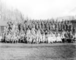 Crew group portrait, Camp Nehalem, Company 2908, Civilian Conservation Corps, Foss, ca. 1935-1942