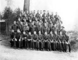 Crew group portrait, Camp Steamboat, Company 3450, Civilian Conservation Corps, Roseburg, ca....