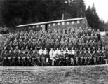 Crew group portrait in front of building, Camp Nestucca, Company 5436, Civilian Conservation...