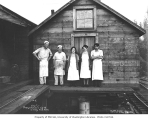 Mess hall crew, Independence Logging Company camp no. 5, ca. 1925