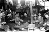 Loggers in bunkhouse interior, unidentified logging camp, Washington, 1892