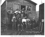 Logging crew at bunkhouse, National Lumber and Manufacturing Company, ca. 1920