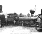 McKenna Lumber Company's Baldwin locomotive no. 7 (probably a 2-8-2 Mikado), with crew, n.d.