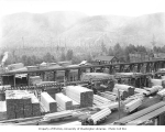 Markham and Callow Logging Company mill yard and stacks of lumber, ca. 1930