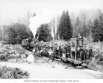Markham and Callow logging crews on speeder cars pulled by three-truck, Class C Shay locomotive...