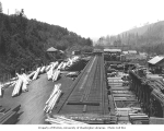 Manley-Moore Lumber Company mill and crane on railway, ca. 1927