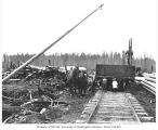 Children and loading crew with gondola railroad car, horse team, and logs to be loaded, Nelson and...