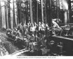 Logging crew on flatcar, Mud Bay Logging Company, n.d.