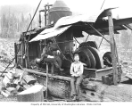 Donkey engine and crew, Northern Coast Timber Company, ca. 1911