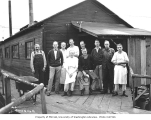 Mason County Logging Company staff and cooks at railroad camp, ca. 1932