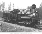 Mason County Logging Company's three-truck Shay locomotive no. 1, with crew, probably at Bordeaux,...