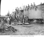 Logging crew and boxcar, Mud Bay Logging Company, n.d.