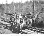Logging crew and speeder, Mutual Lumber Company, Bucoda, ca. 1930