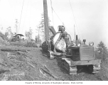Logging crew yarding with Cletrac tractor, Pacific National Lumber Company, n.d.