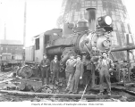 Pacific National Lumber Company's two-truck Climax locomotive with crew, National, n.d.