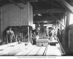 Lumber mill crew, carriage and band saw, High Point Mill Company, ca. 1926
