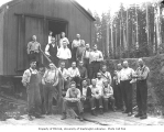 Logging crew and mess hall crew at railroad logging camp, Polson Logging Company, n.d.