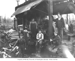 Logging crew and donkey engine, National Lumber and Manufacturing Company, Cedarville, ca. 1921