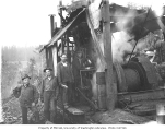 Logging crew and donkey engine, National Lumber and Manufacturing Company, ca. 1924