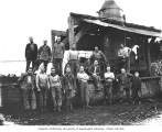 Logging crew and donkey engine, National Lumber and Manufacturing Company