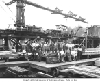 Asian lumber mill crew at green chain, Pacific National Lumber Company, National, n.d.