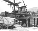 Lumber mill crane and crew, Pacific National Lumber Company, National, n.d.