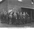 Mill crew and one of the Bordeaux brothers, Mumby Lumber and Shingle Company, Malone, ca. 1930