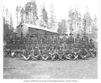 Members of the Spruce Division 431st Squad at camp no. 6, Saginaw Timber Company, ca. 1918