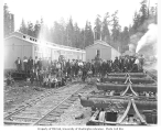 Merril and Ring Lumber Company logging crews at railroad camp, Pysht, ca. 1927