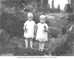 Children in the woods, holding leaves, probably Grays Harbor County, n.d.