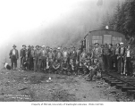 Logging crew with speeder, St. Paul and Tacoma Lumber Company, railroad camp no. 6 near Voight...