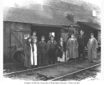 Men and women beside railroad track, St. Paul and Tacoma Lumber Company, Kapowsin, n.d.
