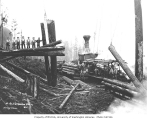 Logging crew and loading operation, with donkey engine, flatcars, and spartree, St. Paul and...