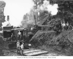 Bucyrus steam shovel and construction crew, Schafer Brothers Logging Company, n.d.
