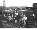 Asian crew and woman at railroad camp, Schafer Brothers Logging Company, n.d.