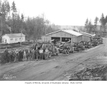 Logging crew and trucks, Schafer Brothers Logging Company's camp no. 10, November 8, 1942