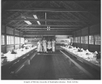 Mess hall interior and crew, Copalis Lumber Company, ca. 1917