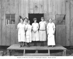 Mess hall crew at railroad camp, Schafer Brothers Logging Company, n.d.