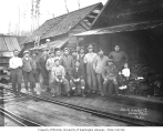Asian lumber mill crew and two children, Walville Lumber Company, n.d.
