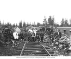 Logging and mess hall crew at railroad logging camp, Waite Mill and Timber Company, ca. 1920