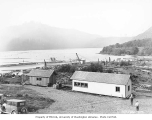 Mineral Lake looking northeast, with West Fork Timber Company's filing shack and oil house in...