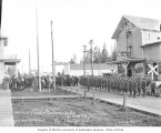 Detachment of 421st Aero Construction Squadron, U.S. Signal Corp, at retreat ceremony at Carlisle,...