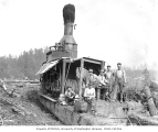 Logging crew and donkey engine, Clemons Logging Company Camp No. 4, ca. 1930