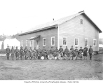 Spruce Division military band at camp, ca. 1918