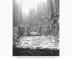 Road construction crew and Mrs. Clark Kinsey, Airplane Spruce and Lumber Company camp B2, 436th...