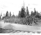 Spruce Division soldiers at Coats-Fordney Lumber company camp no. 3, ca. 1918