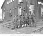 Spruce Division soldiers outside American Railway Express building, Yaquina Bay, ca. 1918